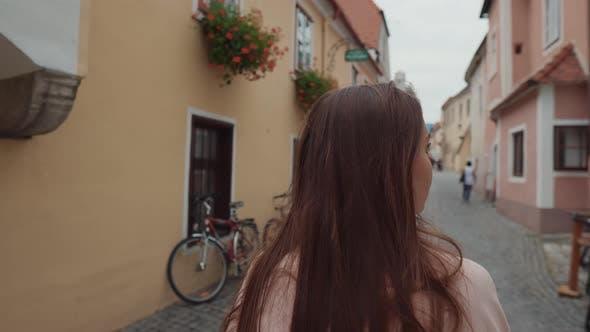 Girl Walking in the Street of Spitz Town Austria