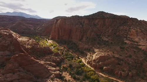 Panning right in a valley in Moab