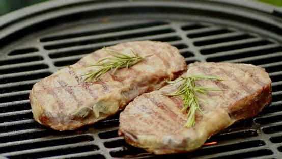 Striploin Steaks with Rosemary on the Grill