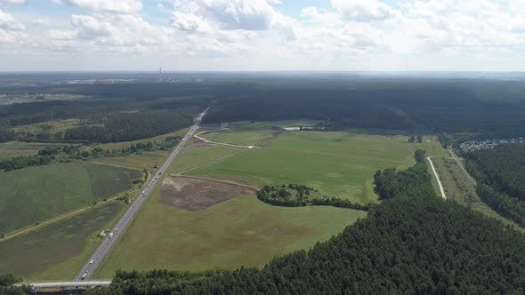 Aerial view of highway with cars. 01