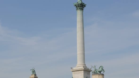 Thumbnail for Famous  Millennium Monument on Heroes square in the Hungarian capital Budapest tilting 4K 2160p Ultr