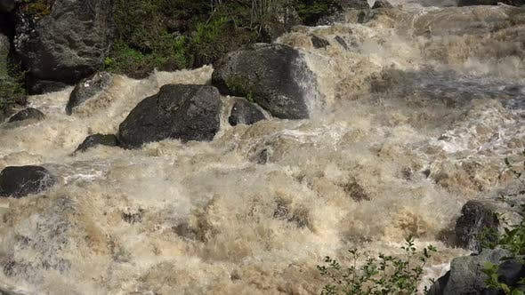 Thumbnail for An Incredibly Fast Flowing Raging Foamy River in Spring Forest