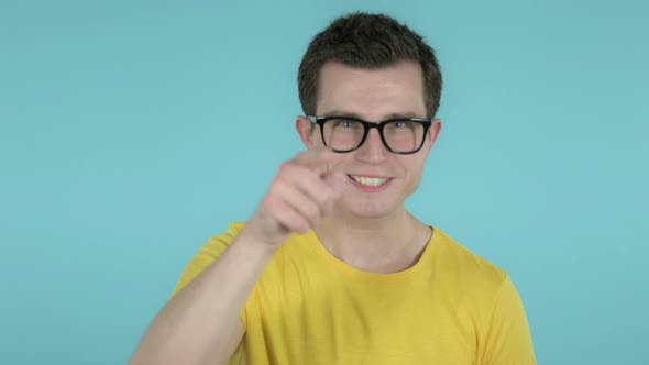 Thumbnail for Clapping Man Applauding, Blue Background