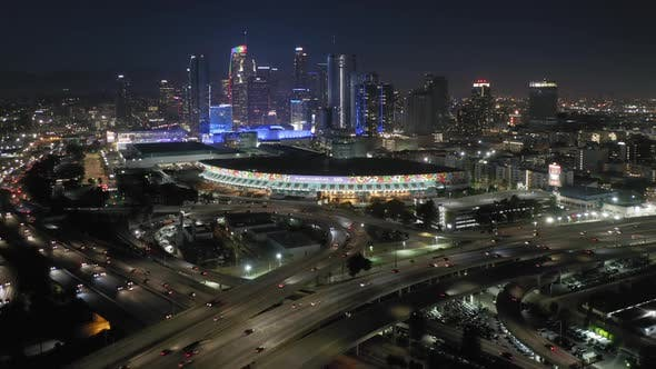 Thumbnail for Night View of the Huge Modern City Brightly Illuminated with Colorful Lights. LA, USA