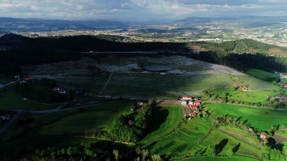 Thumbnail for Aerial View of Rural Landscape with Fields in Portugal