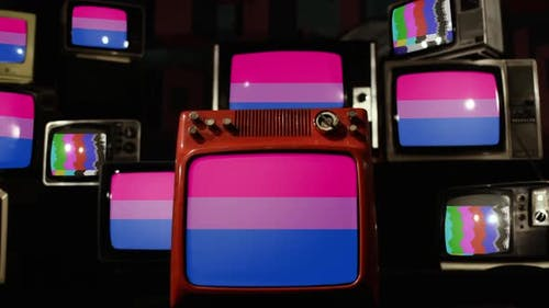 Bisexual Pride Flag and Retro TVs.