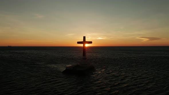 Sunken Cemetery Cross in Camiguin Island Philippines