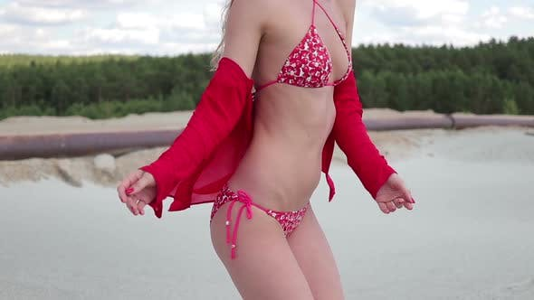 Thumbnail for Charming Stylish Woman in Red Open Swimwear