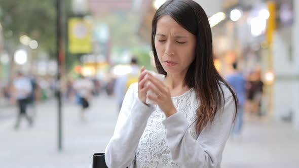 Thumbnail for Woman suffer from nose allergy due to air pollution