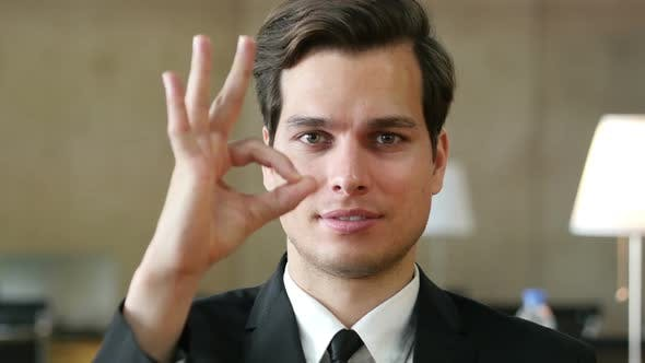 Thumbnail for Okay Gesture by Satisfied Successful Businessman in Office