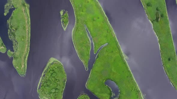 Thumbnail for Aerial Top View on Estuary Straits and Islands