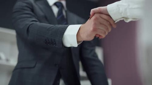 Hiring, Man in a Suit, a Businessman Shaking Hands with a Woman Colleague, a Handshake in the Office