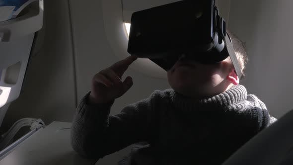 Thumbnail for Child Using VR-headset in the Airplane