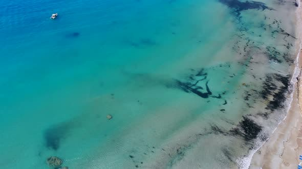 Thumbnail for Aerial View of Beautiful Bay with Crystal Clear Water in Mediterranean Sea, Cyprus, Coral Bay