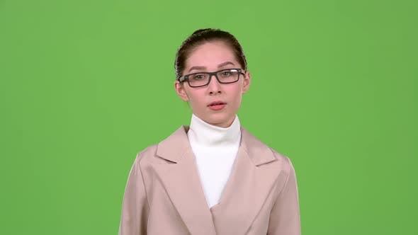 Thumbnail for Businesswoman Corrects Glasses and Is Angry with Her Subordinates. Green Screen