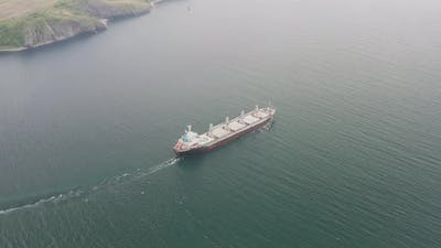Drone View of the Dry Cargo Ship in Motion