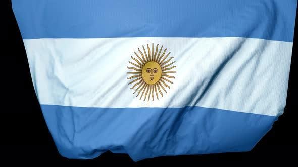 Argentinien Fahne entfaltet