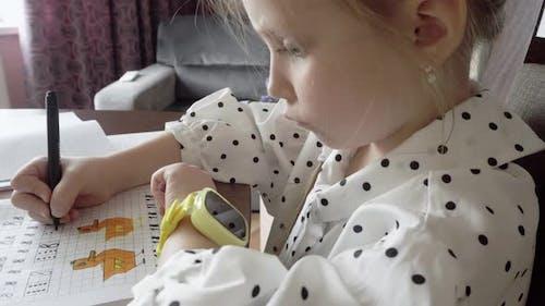 First Grader Doing Homework