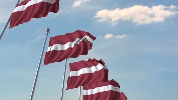 Thumbnail for Row of Waving Flags of Latvia