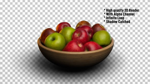 Apples In Bowl Rotating - Fruits Rotate