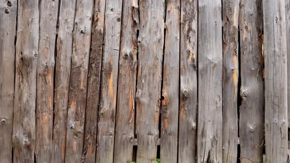 Thumbnail for Closeup Dolly Shot of Camera Moving Along Long Wooden Fence Made of Round Logs