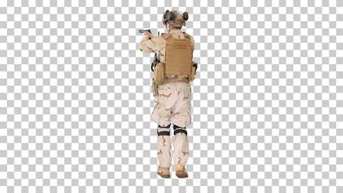 Ranger in full combat uniform walking, Alpha Channel