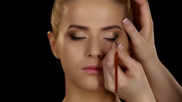 Thumbnail for Professional Make-up. Side View of Eyeshadow Application with Brush. Black. Closeup