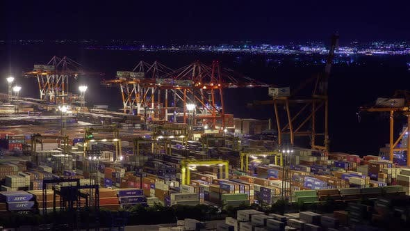 Container Terminal Night Sea Port Dockland Tokyo