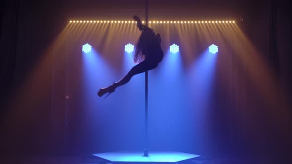 Thumbnail for Athletic Sexy Young Girl with Long Hair Spins on a Pole Upside Down and Does an Acrobatic Trick