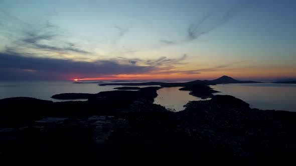 Thumbnail for Aerial view of Losinj island during scenic sunset, Croatia.