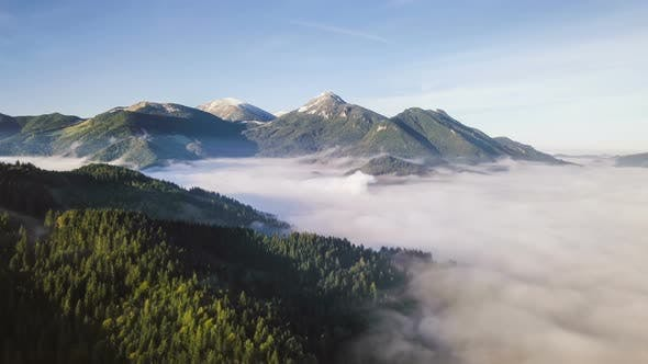 Aerial View of Misty Alpine Mountains Forest Nature