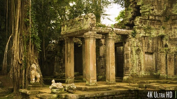 4K Preah Khan Temple Landmark Gateway with Overgrown Trees in Siem Reap, Cambodia