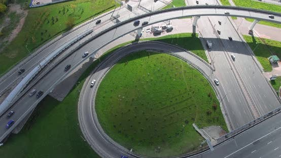 Aerial Shot of Transport Intersection in Big City