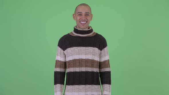 Thumbnail for Happy Bald Multi Ethnic Man Smiling Ready for Winter
