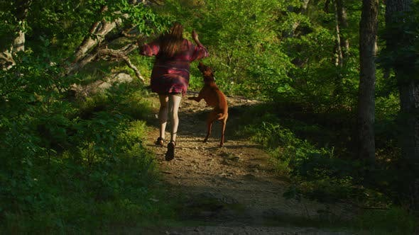 Thumbnail for Woman running with her dog on a forest path