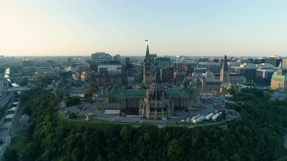Thumbnail for Aerial of the Parliament Buildings, in Ottawa