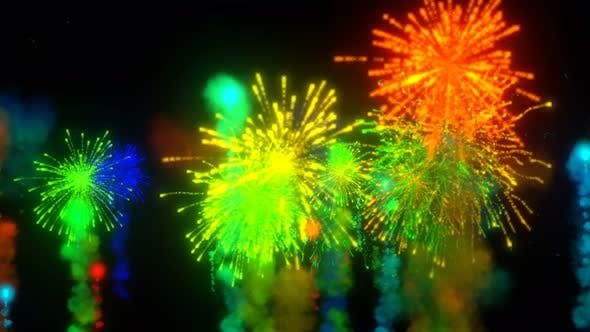 Thumbnail for Orbiting Colorful Fireworks Seamless Loop