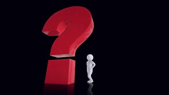 Ein Mannsymbol im Gedanken steht über dem Fragezeichen Entscheidungsfindung Hd
