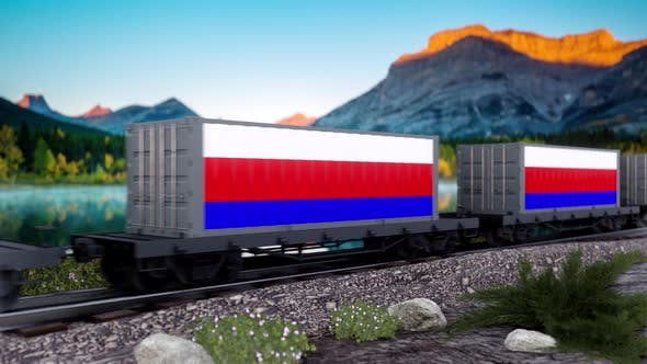 Train and Containers with Russia Flag