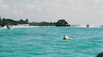 View From Boat to the Coast of Zanzibar with Paradise Beach Boats and Hotels