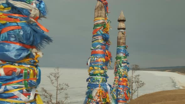 Thumbnail for Pillars with Colored Ribbons Are a Religious Symbol in the Sacred Place of Olkhon Island on Lake