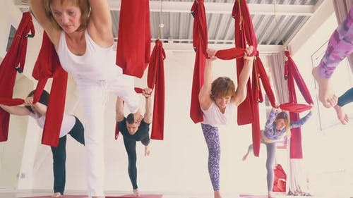 Slim Young Women Group Enjoys Practicing Modern Fly Yoga