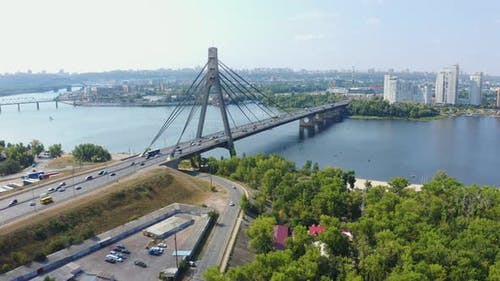 Aerial Fly Over Northern Bridge Moskovsky in Kiev at Summer. View From Above