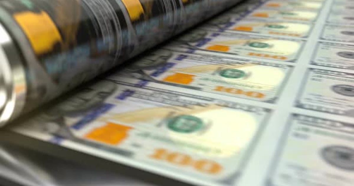 US Dollars Printing Press Machine Prints 100 Dollars Banknotes