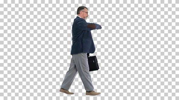 Old business man in a hurry looking at, Alpha Channel