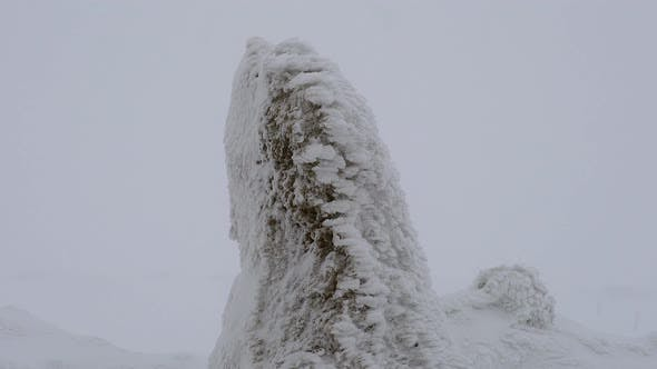 Snow Layers Accumulating on Rock in the Hard Stormy Cold Weather in Winter