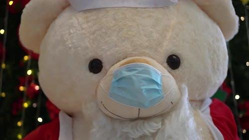 Plush toy bear wear mask