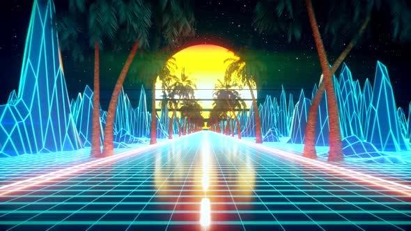 Thumbnail for 80s Retro Futuristic Sci-fi Seamless Loop