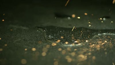 sparks falling on the floor