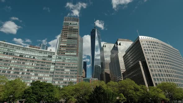 Establishing Shot of New York's Financial District Looking with Hudson River View From Boat NEW YORK